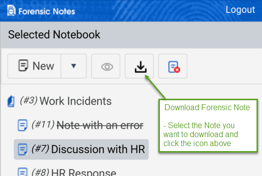 How do I download a Forensic Note? Click Download Forensic Note icon on Mobile
