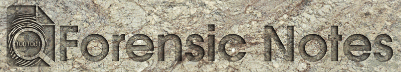 Forensic Notes Logo carved into granite rock